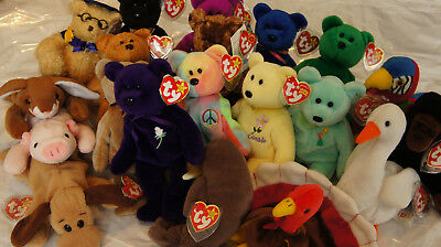 Ty Beanie Babies Lot Of 20, New Princess Pvc Indonesian/canadian And More