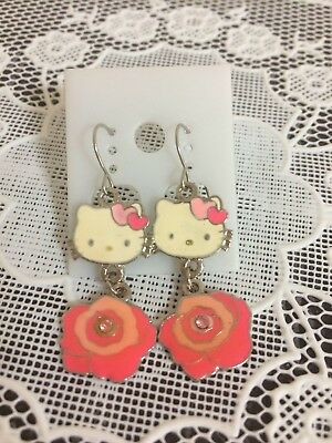NEW Hello Kitty Cute Earrings Rose Flower Pink Color 1 Pair
