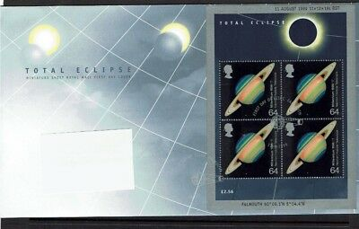 Great Britain: 1999, Total Eclipse, miniature sheet, First day cover