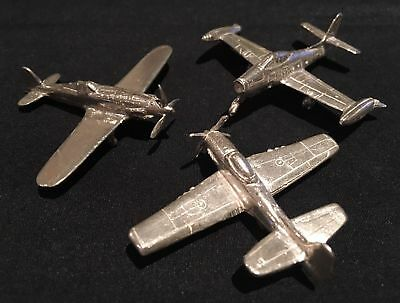 Miniature Silver WWII Airplanes - Rare Set of 3 Unique Items