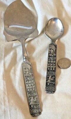 2 piece Vintage Norway pewter.   Cheese slicer/server & spoon. VG condition