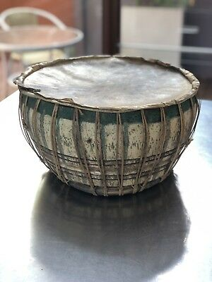 Vintage or Antique Bohemian Wooden Drum Made From Wood And Cane