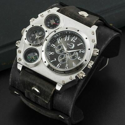 APHOTIC Metallic Grey Dual Time Sunray Punk Watch Wide Steampunk Cowhide Leather