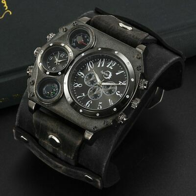 Black Mega Dual Time Sunray Men Watch Stud Wide Gothic Calf Leather