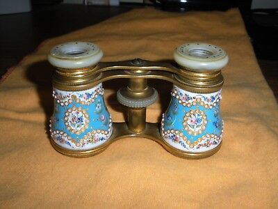 Antique French Lemaire F I Paris Enamel Beaded Opera Glasses
