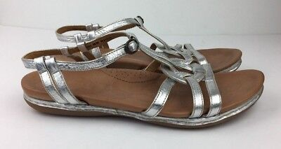 a3442abd36e5 Born Shoes Women s Sandals Strappy Silver Platinum Leather Floral Sz 11   43  M