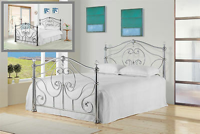 Elrond Metal Bed Frame Victorian Style Crystal Finials Various Sizes Colours
