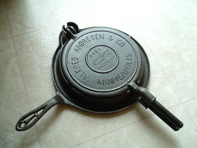 Griswold Alfred Andresen Minneapolis cast iron krumbcake wafer maker CLEAN!