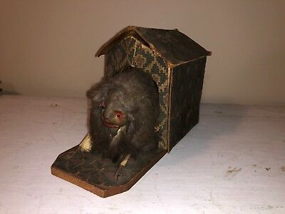 Antique 1800's Child's Toy Dog With Motion And Squeaker Lever Victorian Germany