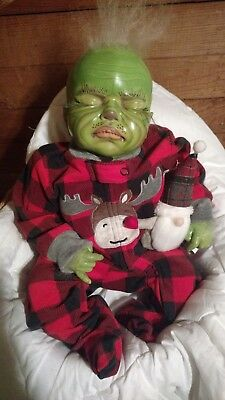 The Grinch that Stole Christmas Reborn Doll Sleeping Baby Art Realistic!Too Cute