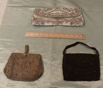Lot Of 3 Antique Vintage Hand Beaded Evening Bags-Purses c1920-1930