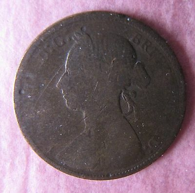 1894 Circulated Great Britain Victoria Half Penny Coin
