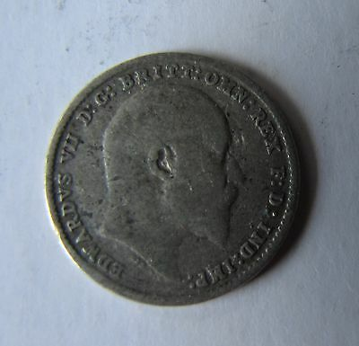 1905 Circulated Great Britain Edward Vii Silver Three Pence Coin