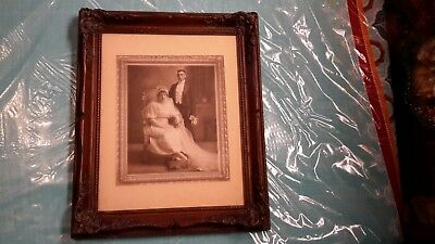Vintage Antique  Ornate Wood Frame With Wedding Photo 14 by 17 inches