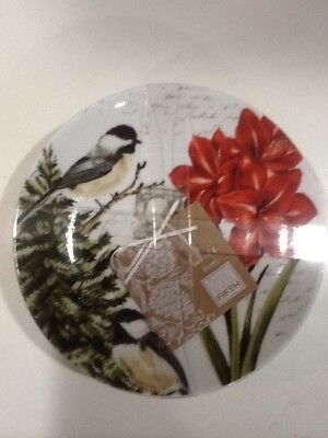 222fifth Winter Cheer Christmas Amaryllis Bird  New 4 Appetizer  Dessert Plates