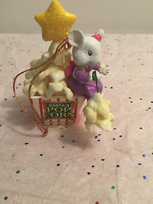 Vintage 90's Trim A Home Mouse Eating Santas Popcorn Tree Charm Ornament