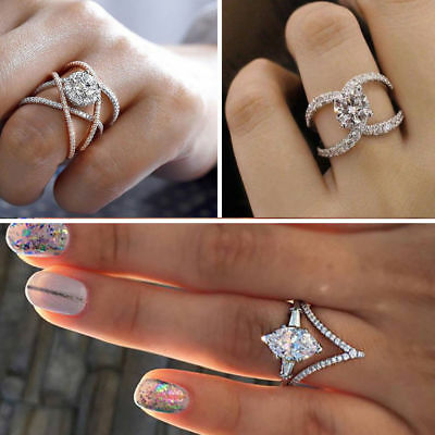 Hot Infinity 925 Silver Women Wedding Rings White Sapphire Fashion Jewelry