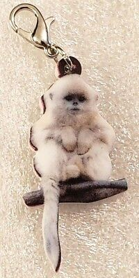Monkey White Realistic Double-Sided Acrylic Purse Charm Zipper Pull Jewelry
