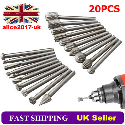 20x HSS Routing Router Grinding Bit Burr Kit  For Rotary Dremel Cutter Tool
