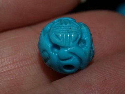 One Vintage Carved Chinese Turquoise Bead Round, Shou 10mm Beautiful Detail!!!