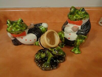 Lot of 3 ceramic frog figurines 1 holds tooth picks.