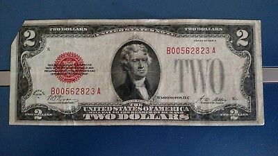 1928 A Series $2 Two Dollar Bill RED SEALNice-Low-series # B0056