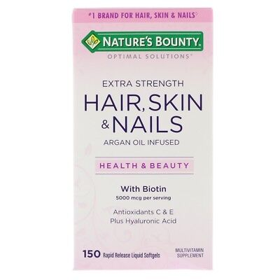 Hair Skin & Nails with Biotin 5000mcg, Argan Oil, Collagen, Horsetail, x150caps