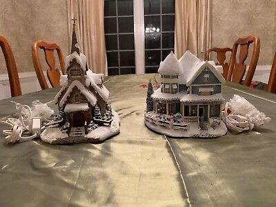 Lot 2 Thomas Kinkade Hawthorne Village Light Of Hope Church Holiday Bed Breakfas