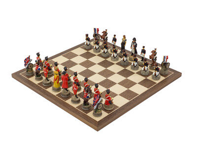 Military Chess Set The Waterloo Battle Ornate Crushed Stone Resin & 15.7 Board