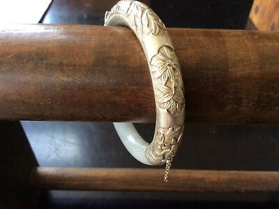 Vintage Chinese Export Silver and White Jade Bangle