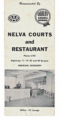 Nelva Courts And Restaurant Meridian Mississippi Brochure Air Conditioned 45 Rms