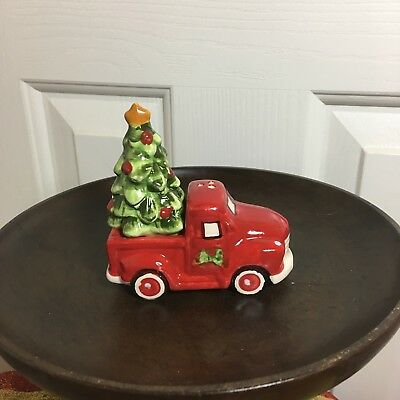 Old Red Truck Carrying Christmas Tree Salt And Pepper Shakers. New