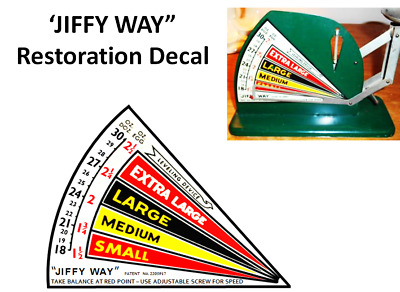 """JIFFY WAY ANTIQUE EGG SCALE RESTORATION  DECAL """" Old Style """""""