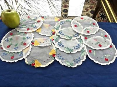 """12 Vintage Madeira Organdy 6""""Rnd Cocktail Coasters Applique Grape Pears Cherries"""