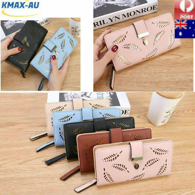 Long PULeather Travel Women Purse Wallet Card Phone Holders Clutch Handbag Box