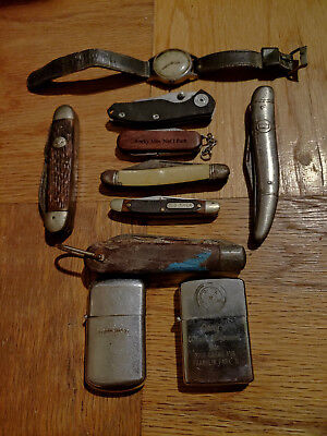 Junk Drawer Lot - Vintage Knives, Lighters, and a watch!!