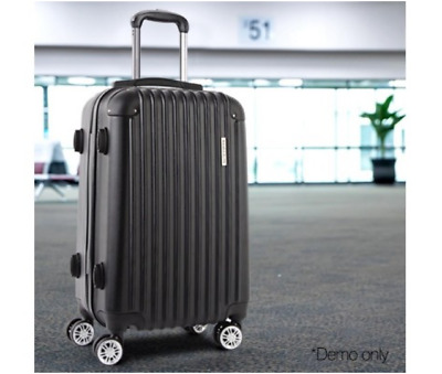 Hard Shell Suitcase Travel Luggage Carry On Lightweight Suit Case Trolley Black