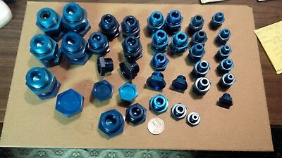 Aircraft grade Blue anodized aluminum boss plugs & O-rings with bleeder