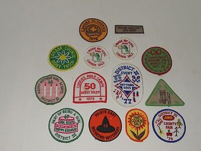 Vintage Lot of 14 Girl Scout Patches 1967 - '80 cookie sales county fair