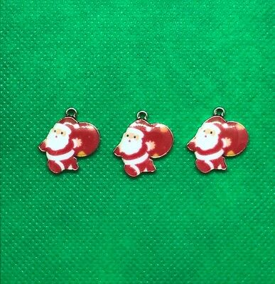 3 Red & White Enamel Gold Plated Santa Charms