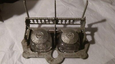 Large Antique Arts Craft Cast Iron Metal Glass Double Inkwell Stand  Pat.1879