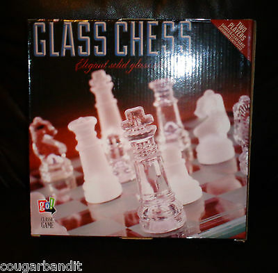 Elegant Glass Chess Set Camp Birthday Gift Game Cabin School Games Scouts Pool