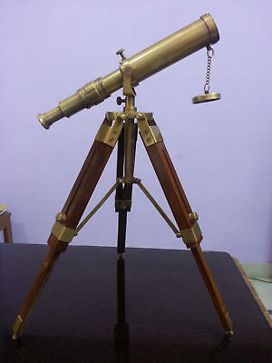 Vintage Brass Nautical Telescope With Wooden Tripod Marine Navy Style Gift Item.