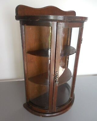 vtg Half Round Glass mini Curio Cabinet Wood display Case shelves wall table-top