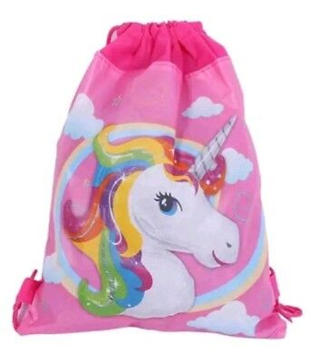 Unicorn Rainbow Drawstring Backpack Princess Girls Kids Swim Shoes Party Bag