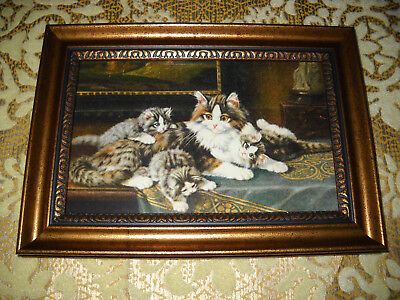 MOTHER CAT 3 KITTENS 4 X 6 gold framed art print Victorian style animal picture