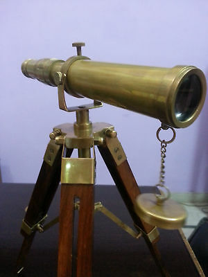 Royal Vintage Brass Nautical Telescope With Wooden Tripod Marine  Gift Item.