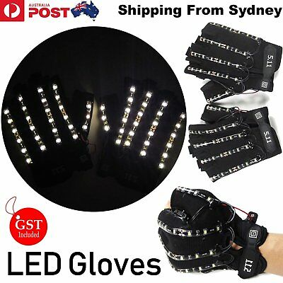 LED Gloves Handmade Bright White Odd Dancer Power Light UP Party Glow In the dar