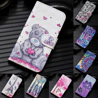 For Huawei Y5 Y6 Y7 Prime 2018 Painted Leather Flip Wallet Magnetic Case Cover