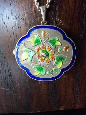 Vintage Chinese Export Silver and Enamel Snuff Pill Box circa 1930's